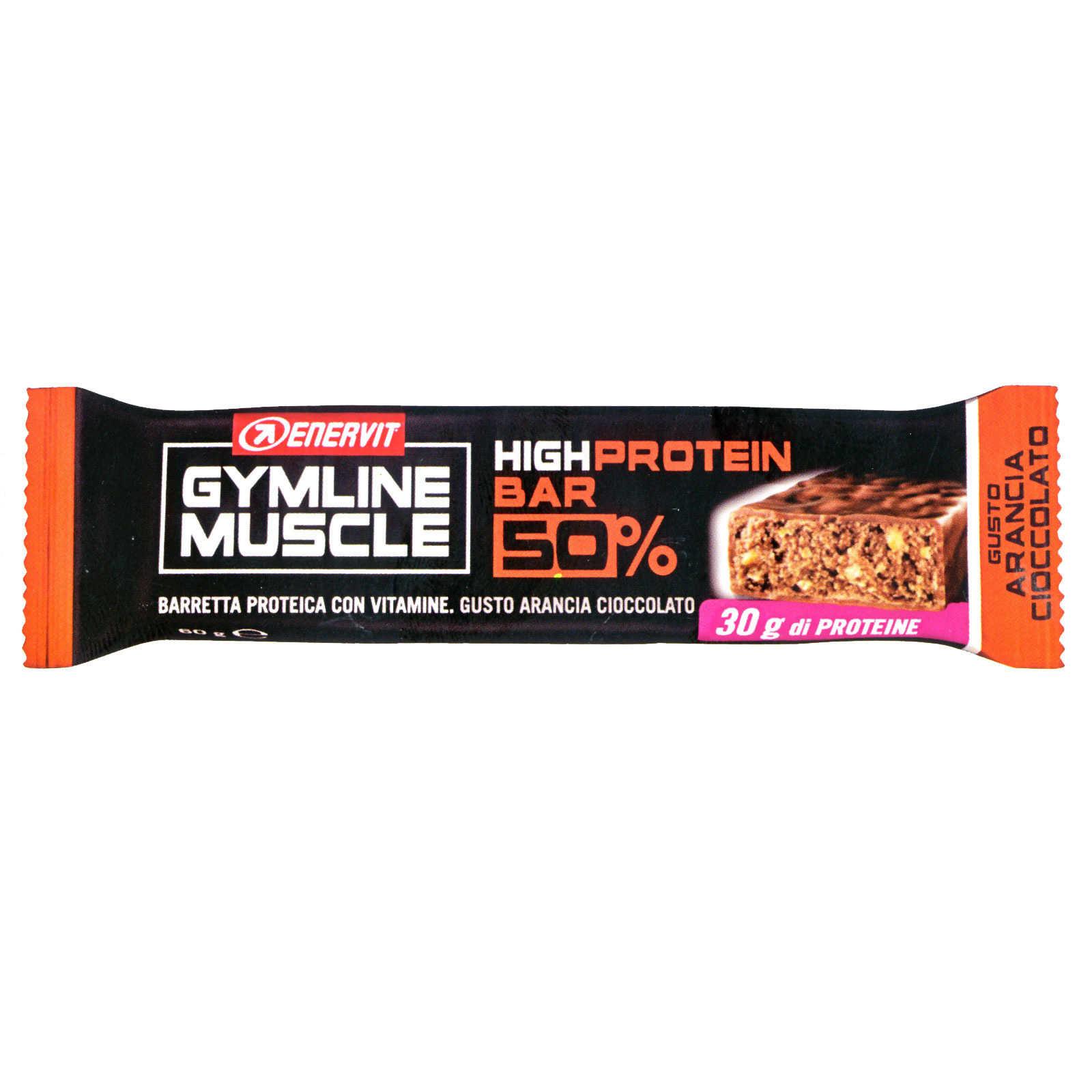 Enervit - Barretta proteica gusto Arancio Cioccolato - Gymline Muscle Protein Bar 50%