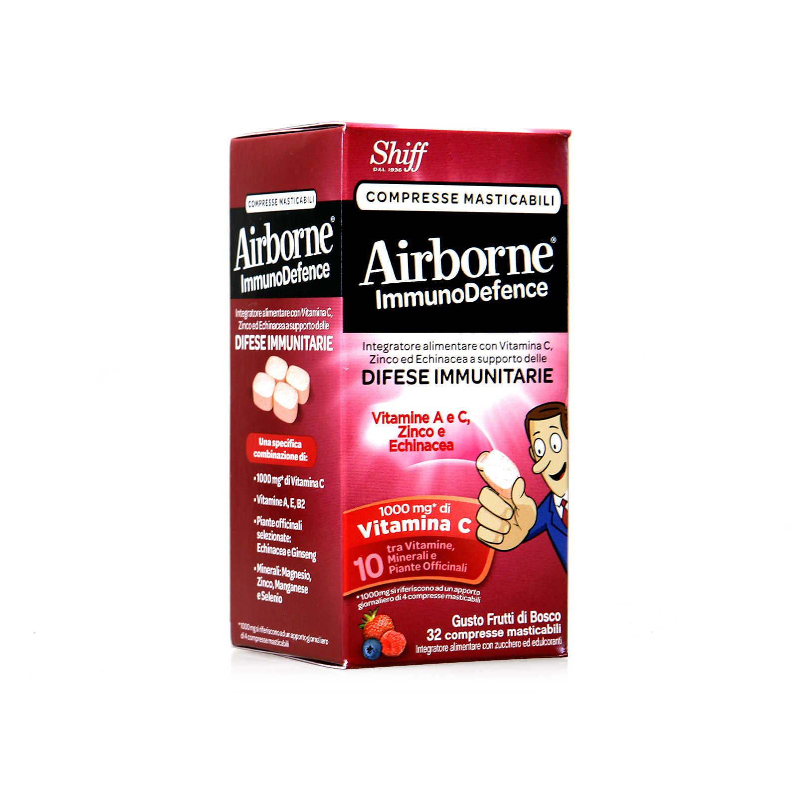 Airborne - Integratore Alimentare - ImmunoDefence - Compresse Masticabili ai Frutti di Bosco